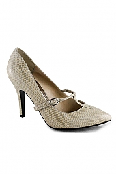 T-STRAP FAUX SNAKE PUMPS
