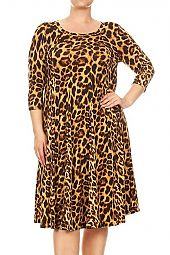 LEOPARD PRINT JERSEY KNIT DRESS