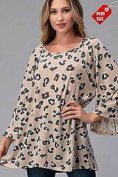 LEOPARD RUFFLE SLEEVE SHIRRED TOP PLUS