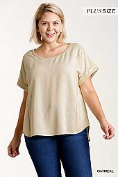 Round Neck Short Folded Sleeve Raw Edged Top