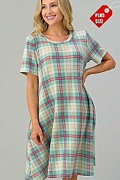 PLAID PRINT  SWING DRESS PLUS