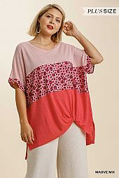 Animal Print Colorblock Short Sleeve Front Knot Detail Top