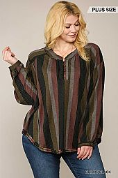 Multi Striped Henley Neck Button Down Top
