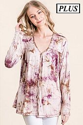 PLUS TIE DYE RAYON FRONT BUTTON TOP