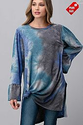 TIE DYE RUFFLE SLEEVE SLIT SIDE TOP PLUS