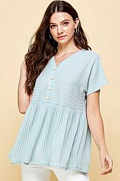 OSCA RIP SHORT SLEEVE WITH BUTTON BABY DOLL TOP