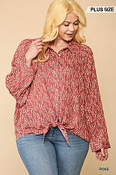 Printed Rayon Gauze Button Down Top