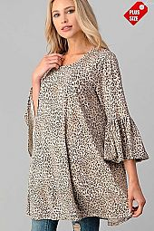 LEOPARD RUFFLE SLEEVE POCKET TUNIC PLUS
