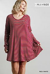 Striped Round Neck Long Sleeve Casual Dress