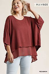 Round Neck Half Folded Sleeve Layered Top