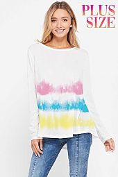 Plus size tie dye stripes boat neck  top
