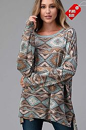 AZTEC SLIT SIDES OVER SIZE TOP PLUS