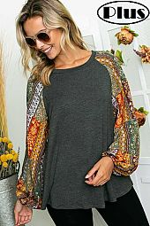 FLORAL WOVEN SOLID MIXED PUFF LONG SLEEVE PLUS TOP