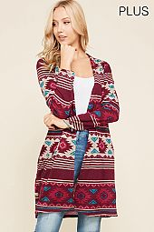 PLUS AZTEC PRINT CARDIGAN