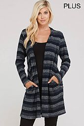 PLUS STRIPE OPEN CARDIGAN