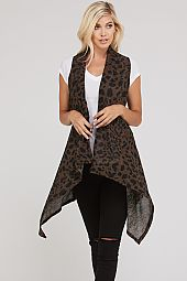 PLUS LEOPARD DRPING VEST