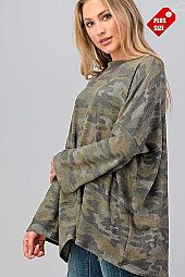 CAMO PRINT OVER SIZED TOP PLUS