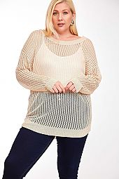 SOLID MESH CROSS BACK SWEATER TOP