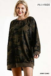 French Terry Camo Print Raw Edged Dress
