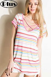 MULTI STRIPE LACE UP V NECK SHORT SLEEVE PLUS TOP