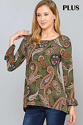 PAISLEY PRINT RUFFLE SLEEVE ROUND NECK PLUS TOP