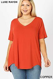 PLUS LUXE RAYON SHORT SLEEVE V-NECK HI-LOW HEM TOP