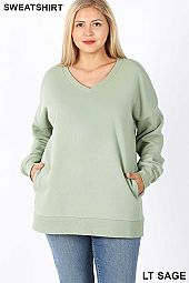PLUS LONG SLEEVE V-NECK SWEATSHIRTS SIDE POCKETS