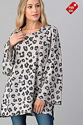 ANIMAL PRINT SLIT SIDES WIDE SLEEVE TUNIC PLUS