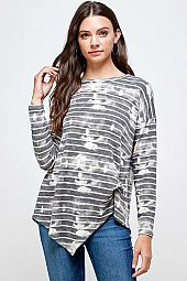 STRIPE TIE-DYE SHARK TAIL BODY TOP