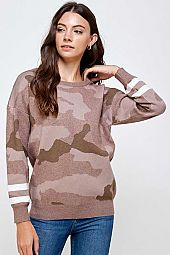 CAMOUFLAGE PRINT KNIT LONG SLEEVE TOP