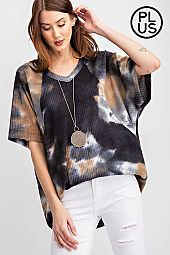 Plus Tie Dye Printed Waffle Short Sleeve Top