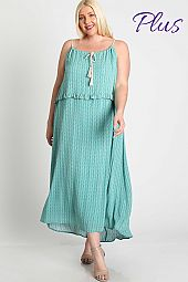 Adjustable Strap  Neckline Maxi Dress