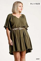 Split Neck Short Bell Sleeve Tiered Dress
