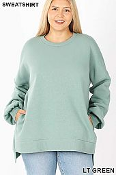 PLUS LONG SLEEVE ROUND NECK HI-LOW HEM SWEATSHIRTS