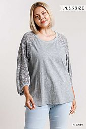 Angled Cuff Detail on Sleeve Round Neck Top