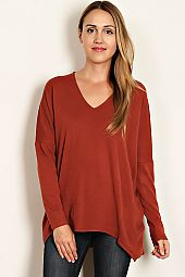 SOLID SWEATER KNIT V-NECK TUNIC