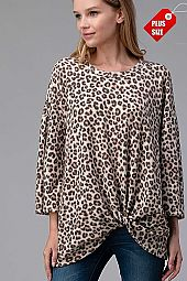 LEOPARD PRINT TWIST HEM TOP PLUS