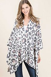 ANIMAL PRINT FRENCH TERR OPEN PONCHO