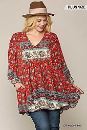 Placement Print Puff Sleeve Hi-Low Tunic Top