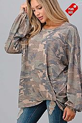 CAMO TWIST HEM PUFF SLEEVE TOP