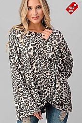 LEOPARD KNOTTED HEM WIDE SLEEVE TOP PLUS