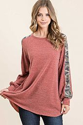 FRENCH TERRY CONTRAST ROUND NECK LONG SLEEVE TOP