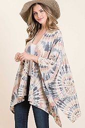 BRUSHED MEDALLION TIE DYE DOLMAN SLEEVE PONCHO