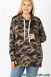 PLUS CAMOUFLAGE HOODIE TOP WITH KANGAROO POCKETS