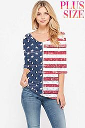 Plus size American flag v neck knit top