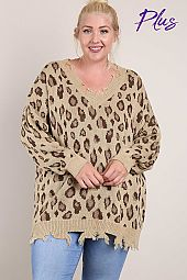 Frayed Knit Leopard Pullover Sweater