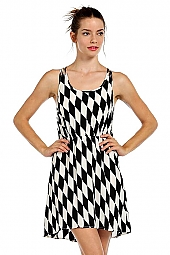 CHECKER PRINT TWO TONE DRESS