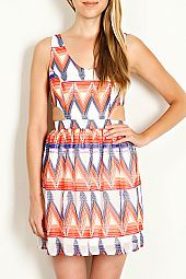 GEO PRINT SLEEVELESS CHIFFON DRESS
