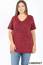 PLUS WASHED LOOK V NECK TOP