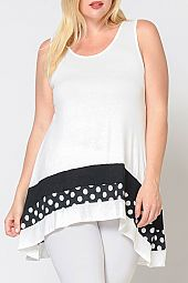 PLUS POLKA DOT COLOR BLOCK JERSEY TANK